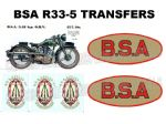 BSA R33-5 Transfers Decals Set DBSA170